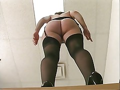 Frisky office slut in stockings gets fucked by long dildo