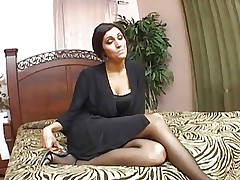 hot milf in stockings fucks and gets a facial