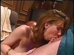 Sexy blondie deep throats a huge pole before getting fucked hard